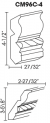 Small Image of CM96C-4 Uptown White (TW) - Crown Molding with Rope Detail