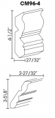 Small Image of CM96-4 Uptown White (TW) - Crown Molding
