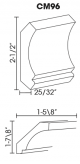 Small Image of CM96 Uptown White (TW) - Crown Molding
