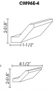 Small Image of CM96E-4 Uptown White (TW) - Crown Molding Straight