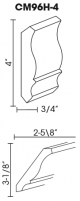 Small Image of CM96H-4 Uptown White (TW) - Crown Molding