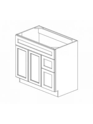 Thumbnail Image of S3621BDR-34-1-2 Ice White Shaker (AW) - Sink Base Combo Vanity with Right Drawer