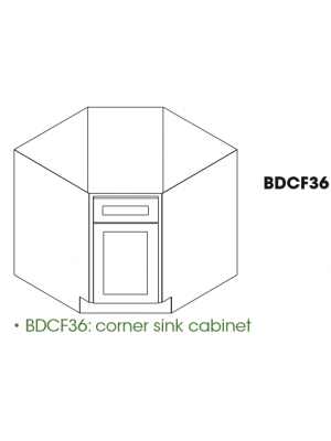 Small Image of BDCF36 Nova Light Grey Shaker (AN) - Base Diagonal Corner Sink Cabinet