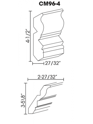 Small Image of CM96-4 K-White (KW) - Crown Molding