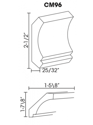 Small Image of CM96 K-White (KW) - Crown Molding