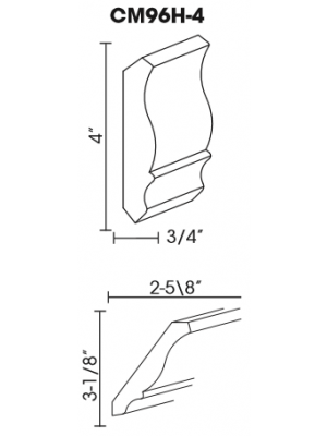 Small Image of CM96H-4 Ice White Shaker (AW) - Crown Molding