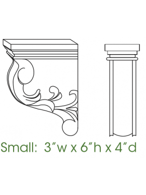 Small Image of CORBEL56 Uptown White (TW) - Decorative Small Corbel