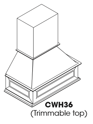Small Image of CWH36 Nova Light Grey Shaker (AN) - Wall Range Hood Cabinet with Trimmable Top