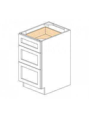 Small Image of DB18-3 Nova Light Grey Shaker (AN) - 3 Drawer Pack Base Cabinet