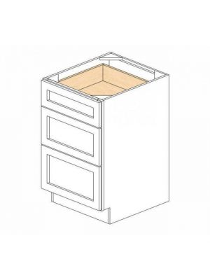 Small Image of DB21-3 Ice White Shaker (AW) - 3 Drawer Pack Base Cabinet