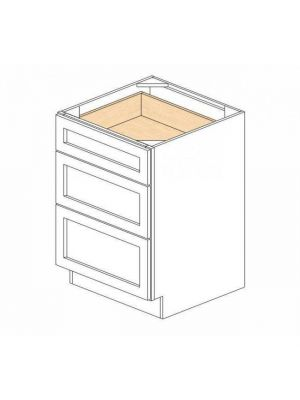 Small Image of DB24-3 Ice White Shaker (AW) - 3 Drawer Pack Base Cabinet