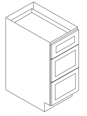Small Image of DB36-3 Ice White Shaker (AW) - 3 Drawer Pack Base Cabinet