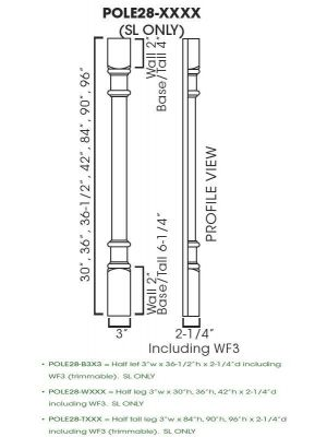 Small Image of POLE28-T396 Signature Pearl (SL) - Trimmable Half Tall Decor Leg including WF3