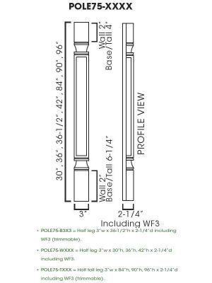 Small Image of POLE75-T384 Ice White Shaker (AW) - Trimmable Half Tall Decor Leg Including WF3