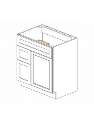 Small Image of S3021DL-34-1-2 Ice White Shaker (AW) - Combo Vanity with Left Drawer