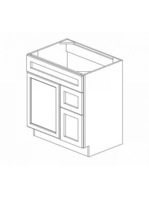 Small Image of S3021DR-34-1-2 Ice White Shaker (AW) - Combo Vanity with Right Drawer