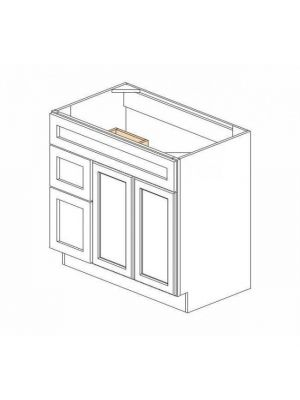Small Image of S3621BDL-34-1-2 Ice White Shaker (AW) - Sink Base Combo Vanity with Left Drawer