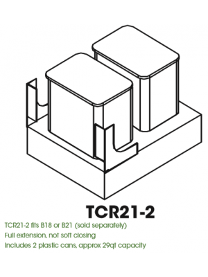Small Image of TCR21-2 K-White (KW) - Double Trash Can Cabinet