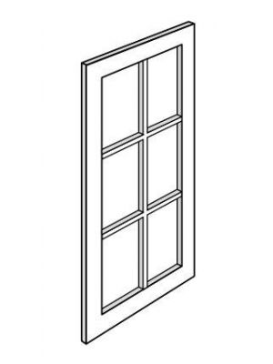 Small Image of W2436BMGD Uptown White (TW) - Wall Glass Door with Mullion and Clear Glass