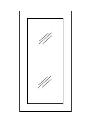 Small Image of W3012BGD Uptown White (TW) - Wall Glas Door with No Mullion and with Clear Glass