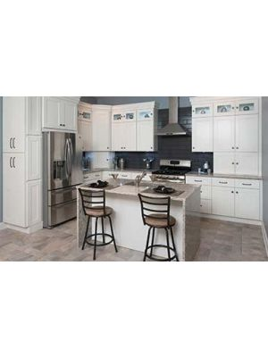 Small Image of AW-Ice-White-Shaker Ice White Shaker (AW) - 10x10 Kitchen Cabinets Collection Kit - RTA