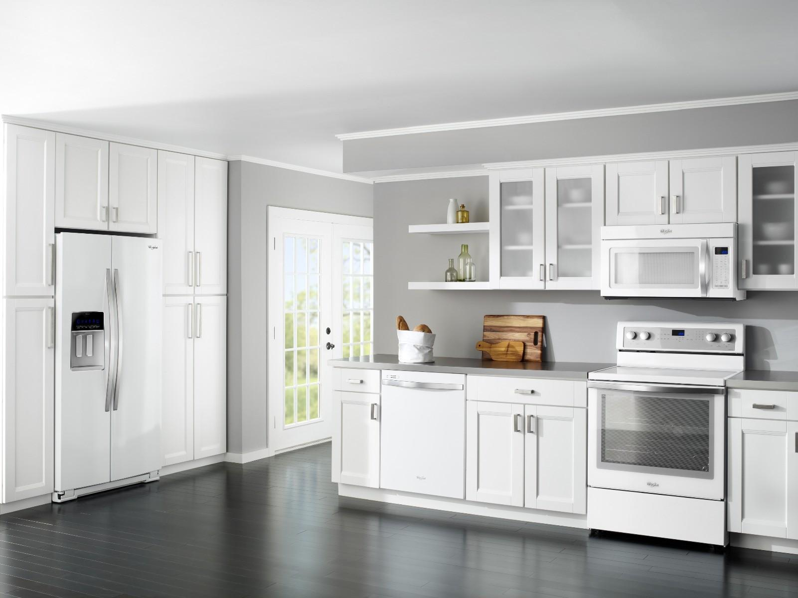 All wood shaker style with molding york antique white or chocolate - Ice White Shaker Door Style Kitchen Cabinets